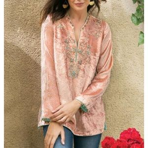 Soft Surroundings peach velvet embellished tunic